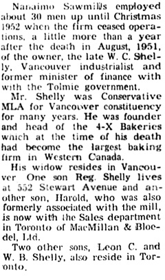 """Storage Yard Planned for Old Nanaimo Sawmills Site,"" Nanaimo Daily News, April 17, 1954, page 1, columns 4-5 [final portion of article]."