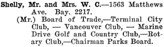 Greater Vancouver Social and Club Register, 1927, page 65.