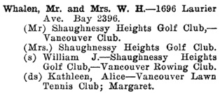 Greater Vancouver Social and Club Register, 1927, page 74.