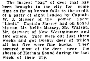 """Hunters Return Well Laden with Game from North,"" Vancouver Daily World, November 21, 1911, page 18, columns 1-2."
