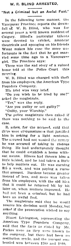 Calgary Herald, June 9, 1905, page 10, column 2.