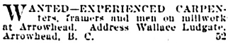 Vancouver Daily World, May 8, 1903, page 6, column 5.