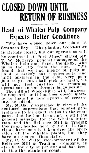 Vancouver Daily World, June 8, 1921, page 17, column 4.