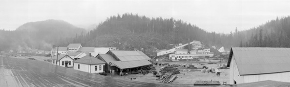 View of Whalen Pulp and Paper Company, Swanson Bay; [cropped], about 1917; Vancouver City Archives, PAN N252B; https://searcharchives.vancouver.ca/view-of-whalen-pulp-and-paper-company-swanson-bay-2.