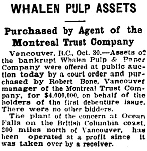 The Gazette (Montreal), October 31, 1925, page 1, column 4.