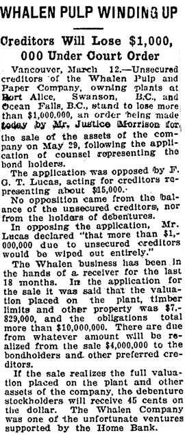 The Gazette (Montreal), March 13, 1925, page 11, columns 1-2.