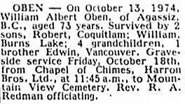 Vancouver Sun, October 17, 1974, page 52, column 5.