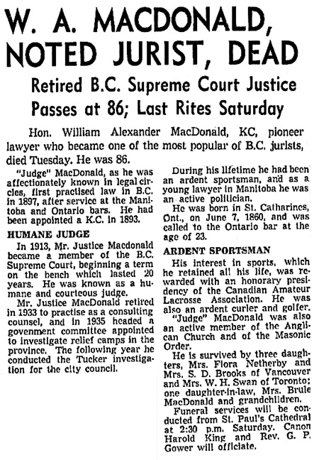 The Vancouver Sun, October 2, 1946, page 3, columns 4-5.