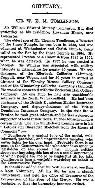The Times (London, England), December 18, 1912, page 9, column 3.