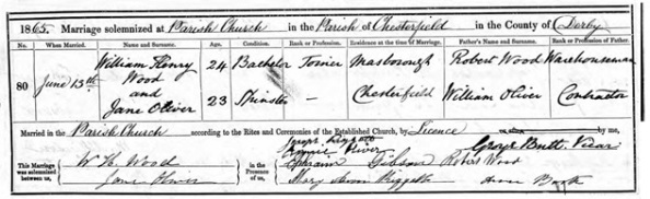 """England Marriages, 1538–1973 ,"" database, FamilySearch (https://familysearch.org/ark:/61903/1:1:NNZB-7YY : 10 February 2018), William Henry Wood and Jane Oliver, 13 Jun 1865; citing Chesterfield, Derbyshire, England, reference it5 P40, index based upon data collected by the Genealogical Society of Utah, Salt Lake City; FHL microfilm 1,752,145."