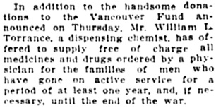 Vancouver Daily World, August 28, 1914, page 20, column 2.