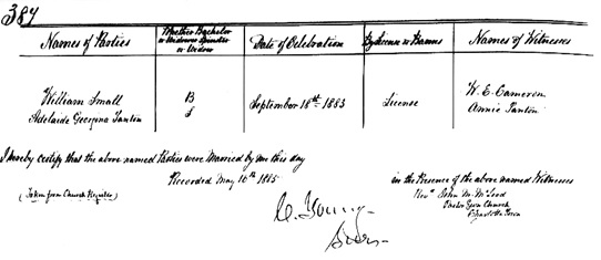 """Prince Edward Island Marriage Registers, 1832-1888,"" database with images, FamilySearch (https://familysearch.org/ark:/61903/1:1:QVBJ-KGJ2 : 9 March 2018), William Small and Adelaide Georgina Tanton, 18 Sep 1883; citing , Prince Edward Island, Canada, Public Archives, Charlottetown; FHL microfilm 1,630,095."