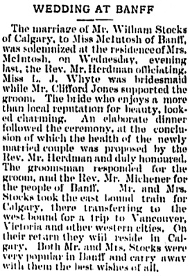 The Calgary Weekly Herald, May 20, 1897, page 8, column 3.