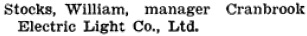 Henderson's BC Gazetteer and Directory, 1905, page 274 (Cranbrook).