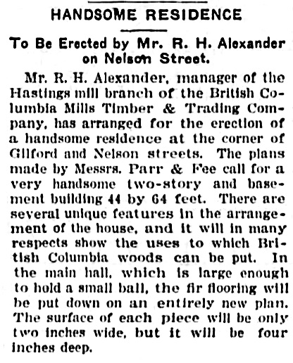 Vancouver Province, August 11, 1905, page 9, column 5.