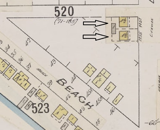 1151 Denman Street and 1155 Denman Street; detail from Insurance plan - City of Vancouver, July 1897, revised June 1901 - Sheet 45 - Comox Street to English Bay and Bidwell Street to Stanley Park.