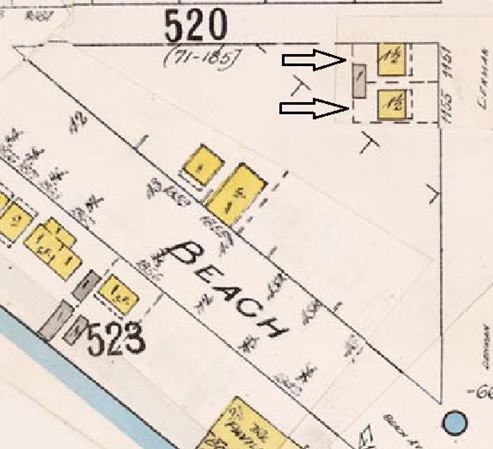1151 Denman Street and 1155 Denman Street; detail from Insurance plan - City of Vancouver, July 1897, revised June 1903 - Sheet 45 - Comox Street to English Bay and Bidwell Street to Stanley Park.