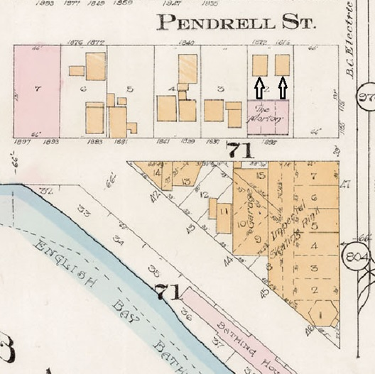 1816 Pendrell Street and 1822 Pendrell Street; detail from Goad's Atlas of the city of Vancouver - 1912 - Vol 1 - Plate 8 - Barclay Street to English Bay and Cardero Street to Stanley Park.