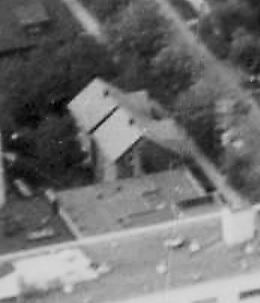 1822 Pendrell Street and 1816 Pendrell Street, 1957; detail from [Aerial view of the West End showing the increase of apartment buildings west of Cardero Street; Vancouver City Archives; Dist P133; https://searcharchives.vancouver.ca/aerial-view-of-west-end-showing-increase-of-apertment-buildings-west-of-cadero-street.
