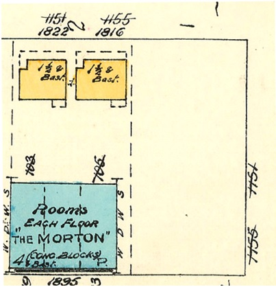 1822 Pendrell Street and 1816 Pendrell Street (formerly 1151 Denman Street and 1155 Denman Street); detail from Chas. E. Goad Company, 1913; Plate 63 Denman Street to Comox Street to Stanley Park boundary to English Bay; 1972-582.38; https://searcharchives.vancouver.ca/plate-63-denman-street-to-comox-street-to-stanley-park-boundary-to-english-bay.