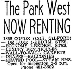 Vancouver Sun, August 22, 1964, page 40, column 2.
