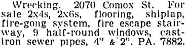 Vancouver Sun, November 17, 1953, page 26, column 2.