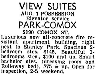 Vancouver Sun, June 28, 1956, page 46, column 4.