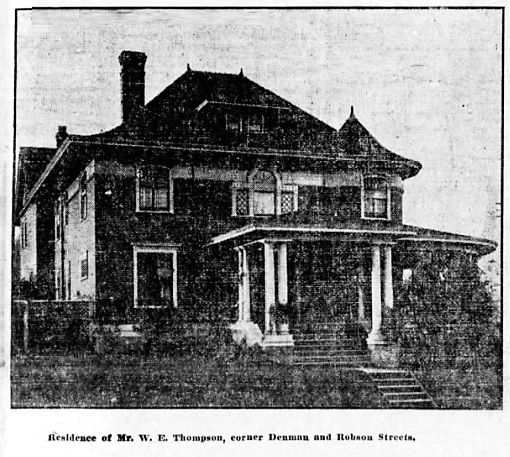 821 Denman Street, Vancouver Province, October 21, 1905, page 24, columns 4-6.