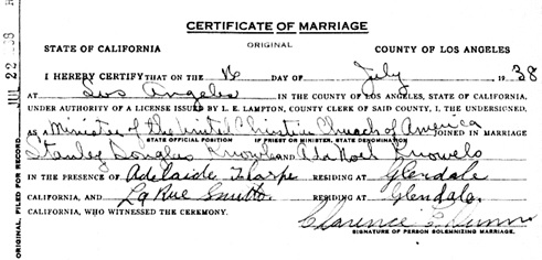 """California, County Marriages, 1850-1952,"" database with images, FamilySearch (https://familysearch.org/ark:/61903/1:1:K8V7-PFZ : 8 December 2017), Stanley Douglas Knowles and Ada Noel Knowles, 16 Jul 1938; citing Los Angeles, California, United States, county courthouses, California; FHL microfilm 2,114,224."