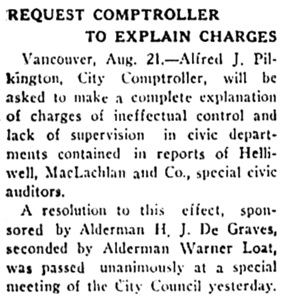 Nanaimo Daily News, August 21, 1930, page 1, column 1.
