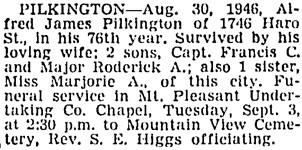 "Vancouver Sun, August 31, 1946, page 20, column 4 [reference to Marjorie should probably say ""daughter.""]"