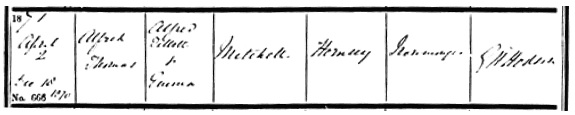 Ancestry.com. London, England, Church of England Births and Baptisms, 1813-1917 [database on-line]. Provo, UT, USA: Ancestry.com Operations, Inc., 2010. London Metropolitan Archives; London, England; Board of Guardian Records, 1834-1906/Church of England Parish Registers, 1754-1906; Reference Number: DRO/004/A/01/023. Name: Alfred Thomas Mitchell; Gender: Male; Record Type: Baptism: Baptism Date: 2 Apr 1871; Baptism Place: Enfield St Andrew, Enfield, England; Father: Alfred Gillett Mitchell; Mother: Emma Mitchell.