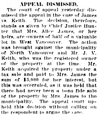 Vancouver Sun, December 6, 1913, page 4, column 5.