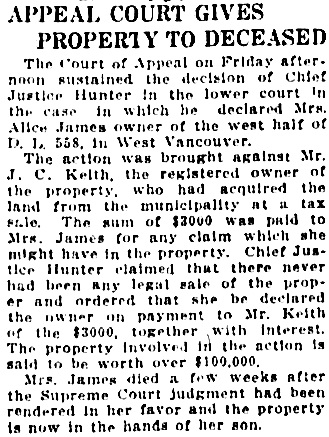 Vancouver Sun, December 6, 1913, page 20, column 6.