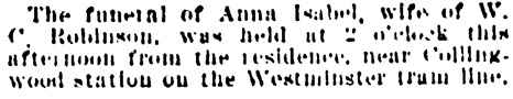 Vancouver Daily World, October 12, 1903, page 3, column 4.