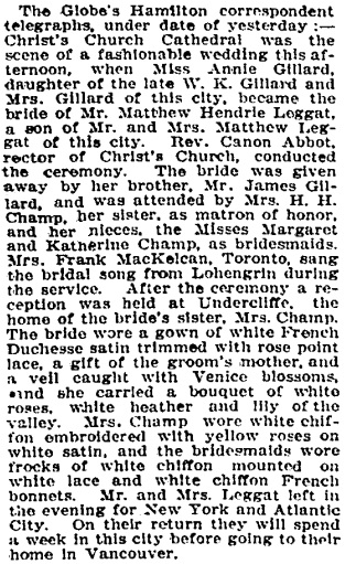 Social Events, Toronto Globe, October 21, 1908, page 6, column 1.