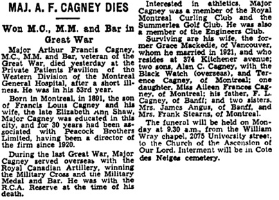 The Gazette (Montreal), January 23, 1943, page 17, column 6-7.