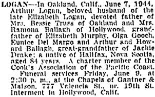 The San Francisco Examiner, June 8, 1944, page 13, column 6.