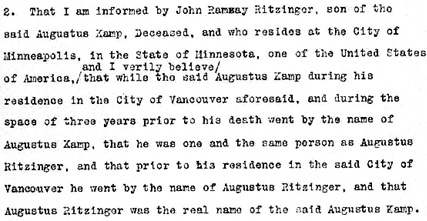 Affidavit of Alexander Henderson, May 5, 1913, British Columbia Probate Files; GR-1415, British Columbia Supreme Court (Vancouver); http://search-bcarchives.royalbcmuseum.bc.ca/Document/Finding_Aids_Atom/GR-1001_to_GR-1500/gr-1415.pdf; B02562 Kamp, Augustus, P – 02685; image 572 of 2232; https://www.familysearch.org/ark:/61903/3:1:3QS7-897Z-XG3J?i=571&wc=M69N-529%3A332530701%2C332530502%2C332776001&cc=2014768.