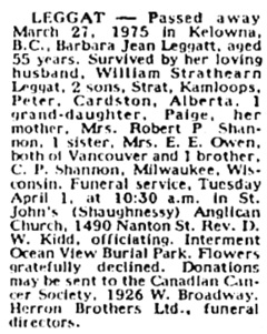 Vancouver Sun, March 29, 1975, page 53, column 5.