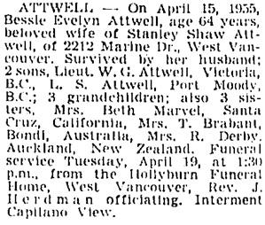 Vancouver Sun, April 18, 1955, page 28, column 3.