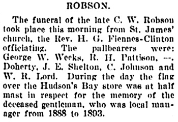 Vancouver Daily World, November 7, 1906, page 2, column 2.