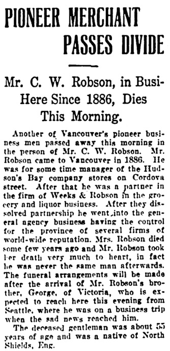 Vancouver Daily World, November 5, 1906, page 8, column 2.