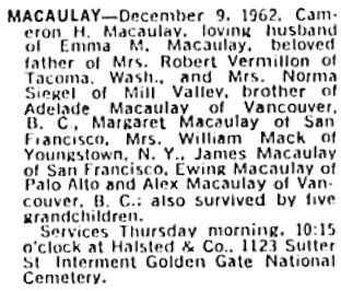 San Francisco Examiner, December 11, 1962, page 45, column 6.