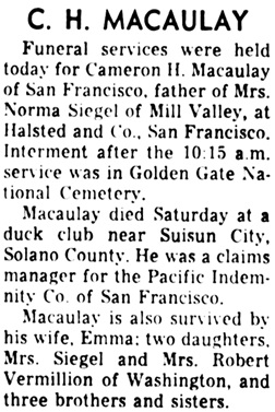 Daily Independent Journal (San Rafael, California), December 13, 1962, page 4, column 6.