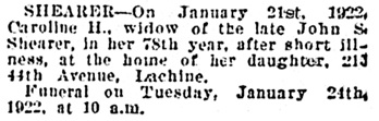The Gazette (Montreal), January 24, 1922, page 7, column 8.