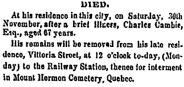 Ottawa Times, December 2, 1867, unknown page, column 8; https://news.google.com/newspapers?id=7z88AAAAIBAJ&sjid=fSsMAAAAIBAJ&pg=1456%2C15289501; [link leads to page 1, column 2; death notice is on previous page with illegible page number, column 8.