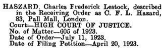 The London Gazette, 13 July, 1923, page 4908; https://www.thegazette.co.uk/London/issue/32844/page/4908/data.pdf.