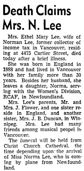 Vancouver Sun, March 2, 1945, page 16, column 1.