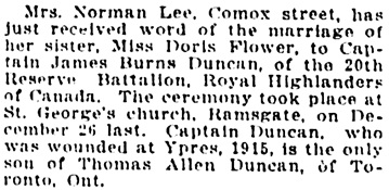 Vancouver Sun, January 22, 1919, page 4, column 3.